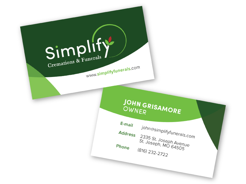 Simplify funerals business card.