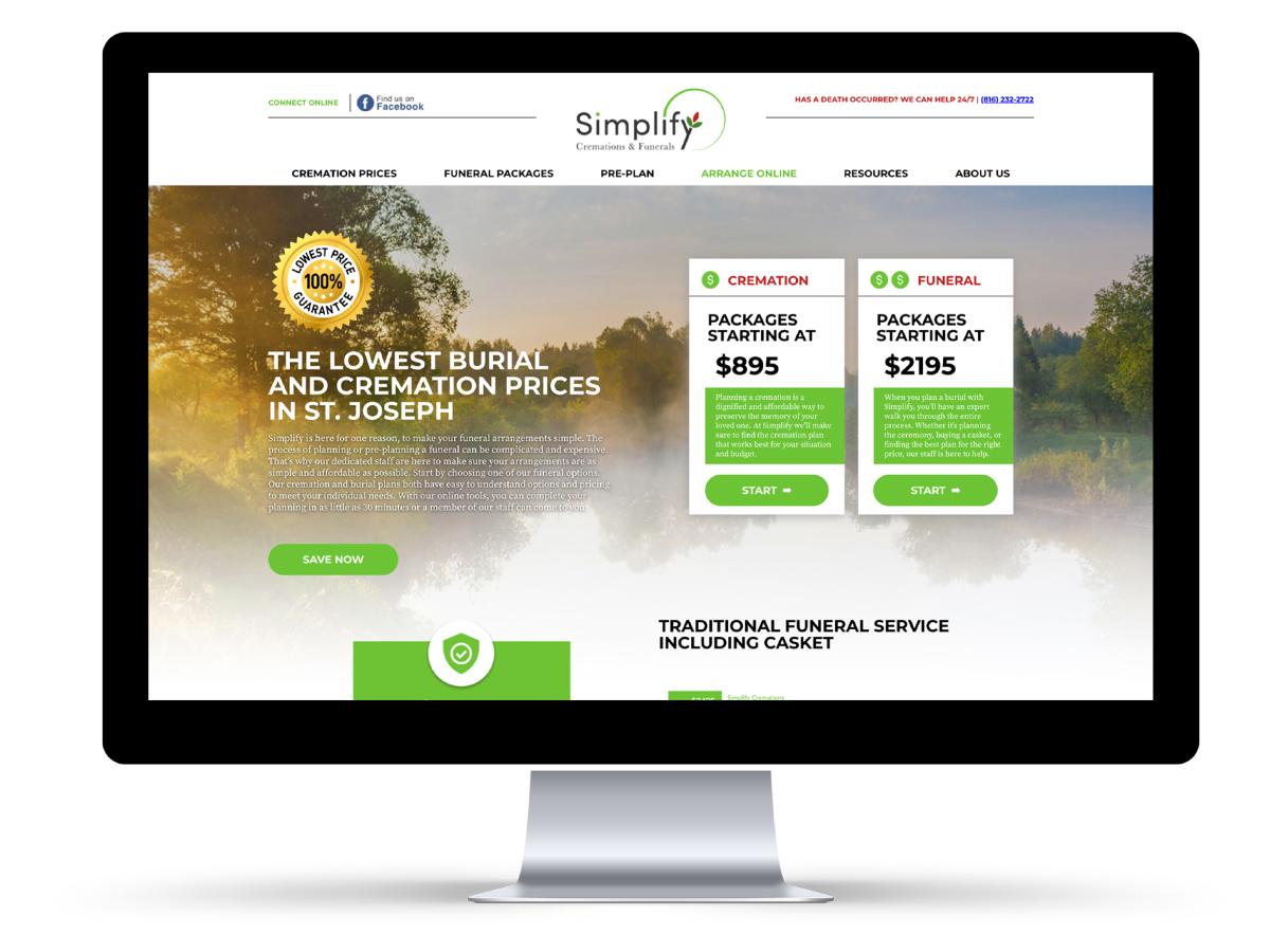 Simplify funerals website mockup.